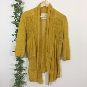 Anthro angels of the north mustard yellow cardigan
